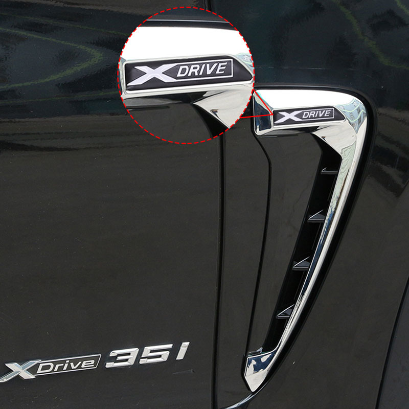 For BMW Xdrive Emblem Logo X5 F15 X5M F85 14-18 Shark Gills Side Fender Vent Decoration 3D Stickers Auto Accessories Car-Styling