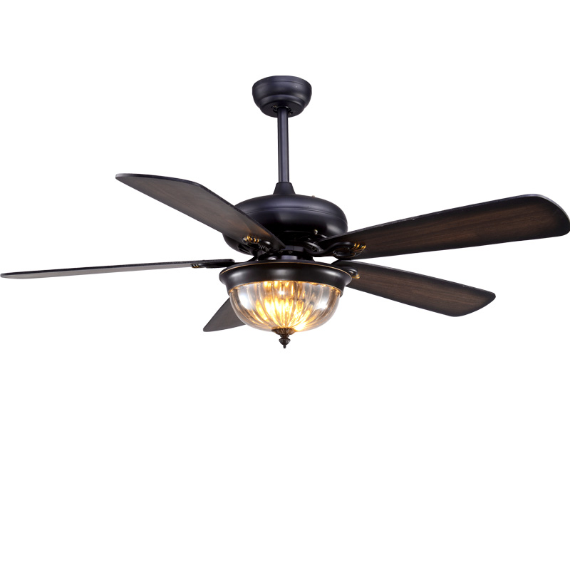 Lukloy Restaurant Ceiling Fan Pendant Light Living Room American Retro Industrial Remote Control Antique Wood Leaf Fan Lamp Without Return Ceiling Lights & Fans