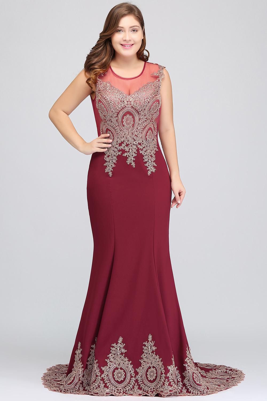 HTB1Re0qbpHM8KJjSZFwq6AibXXaZPlus size Evening Dress Burgundy Formal Gown