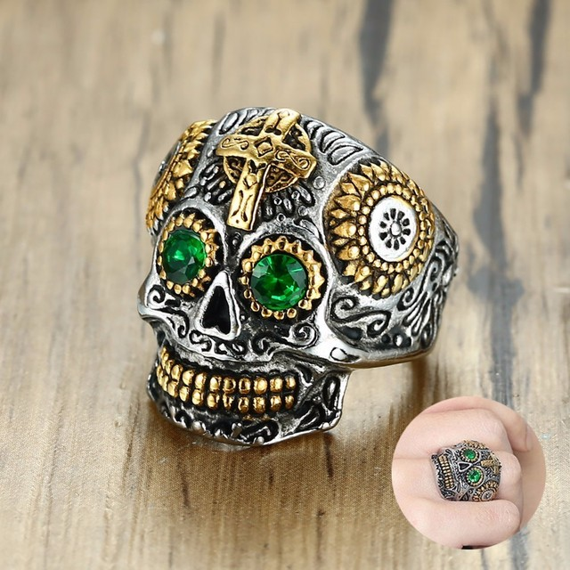 Men S Mexican Sugar Skull Ring Punk Green Eyes Gold Teeth Rings With Gothic Cross For