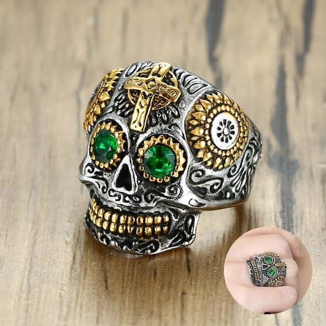 a94ed92ecffa placeholder Men s Mexican Sugar Skull Ring Punk Green Eyes Gold Teeth Rings  with Gothic Cross for Men