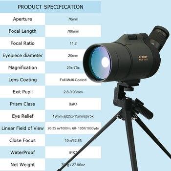 SVBONY SV41 25-75x70 Spotting Scope Telescope Refraction Monocular Binoculars Hunting Optics BAK4 Prism Long Range Waterproof 2