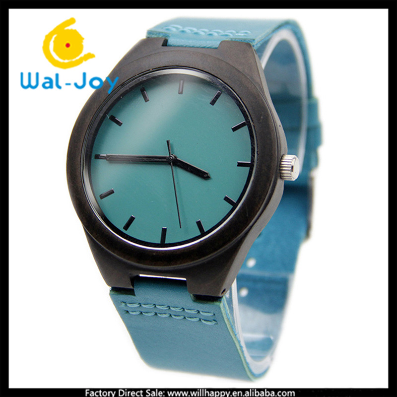 10/lot WJ-5362 colorful casual genuine leather strap attractive hot wooden dial men watch