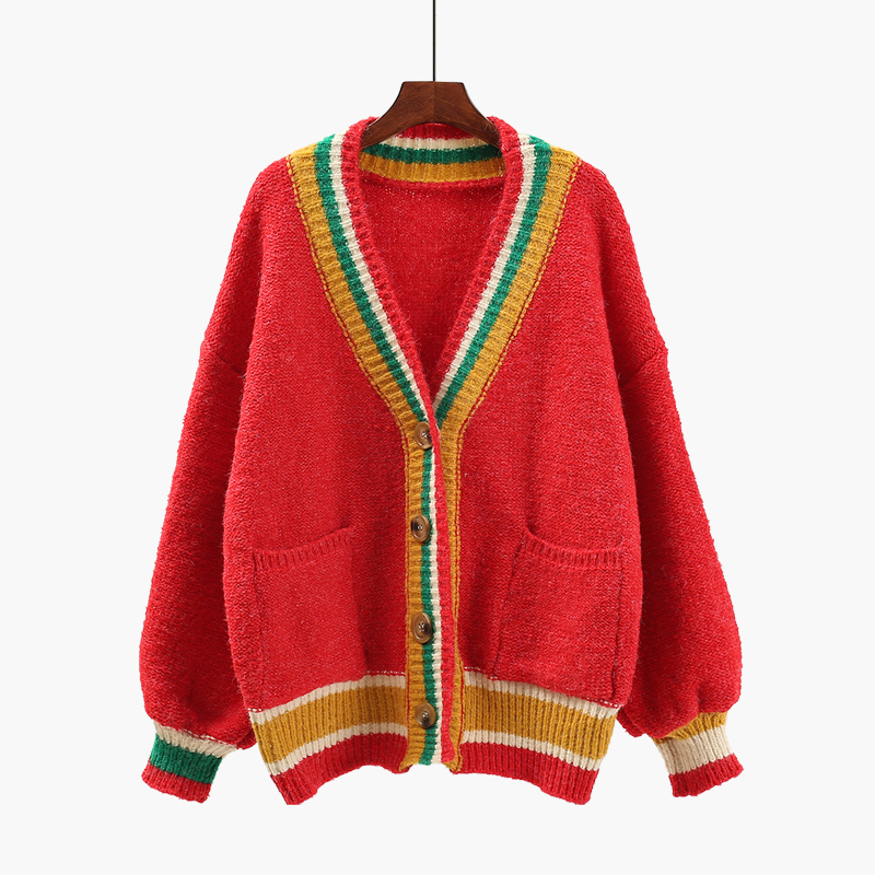 2018 new spring winter women loose sweater color V neck coarse wool sweater cardigan lady casual thicken knitted coat tops