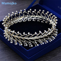 Mamojko Baroque European Palace Queen Pearl Crown For Women Fashion Vintage Gold Circle Rhinestone Bridal Tiara