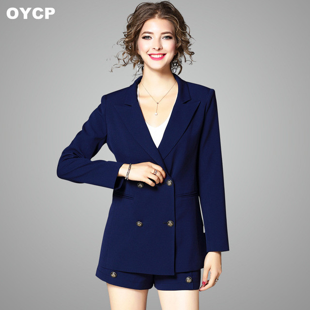 Oycp Autumn Winter 2 Pieces Set Women Double Breasted Navy Blue