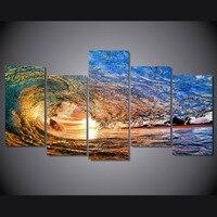 벽 포스터 HD 인쇄 5 개 캔버스 예술 홈 장식 바다 큰 파도 유화 캔버스 액자
