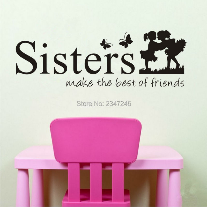 Twins Sisters Cute Silhouette Wall Sticker Girl Room Decoration Living Pictures Bedroom Stickers on the