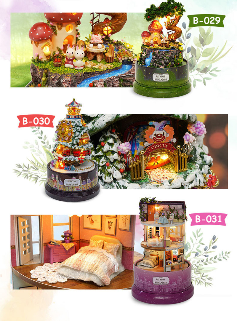 DIY Dollhouse Rotate Music Box Miniature Assemble Kits Doll House With Furnitures Wooden House Toys for Children Birthday Gift (3)