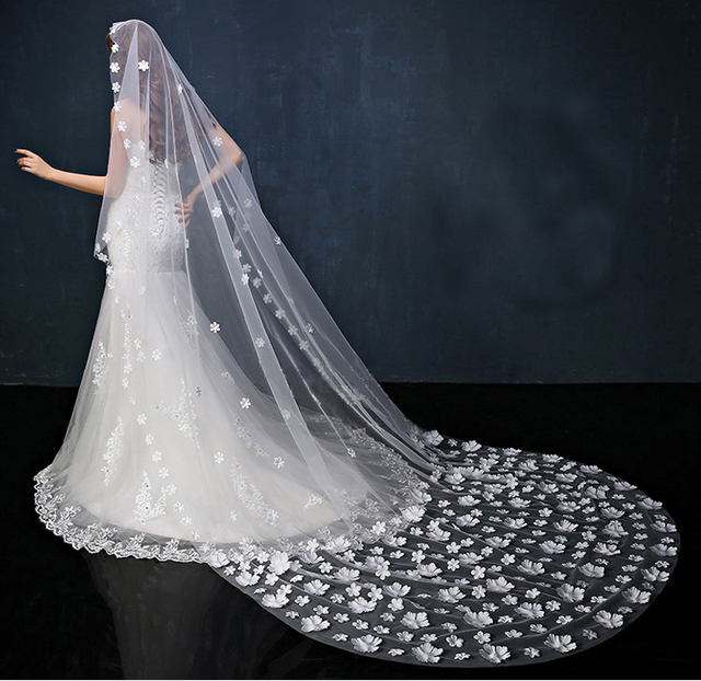 2017 New Hot In Stock 3 Meters Long Cathedral Wedding Veil White Wedding Veils for Bride Bridal Veil Wedding Accessories