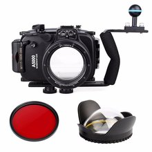 40m 130ft Waterproof Underwater Diving Camera Case For Sony A5000 16-50mm + Diving handle + Fisheye Lens dome port + Filter
