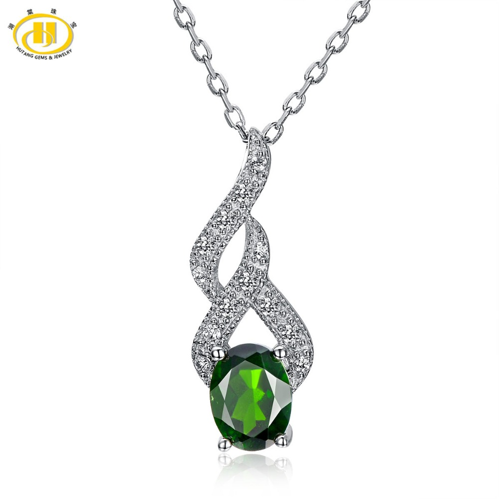 Hutang 1.5ct Natural Chrome Diopside Pendant 925 Sterling Silver Necklace Green Oval 8x6mm Gemstone Fine Jewelry