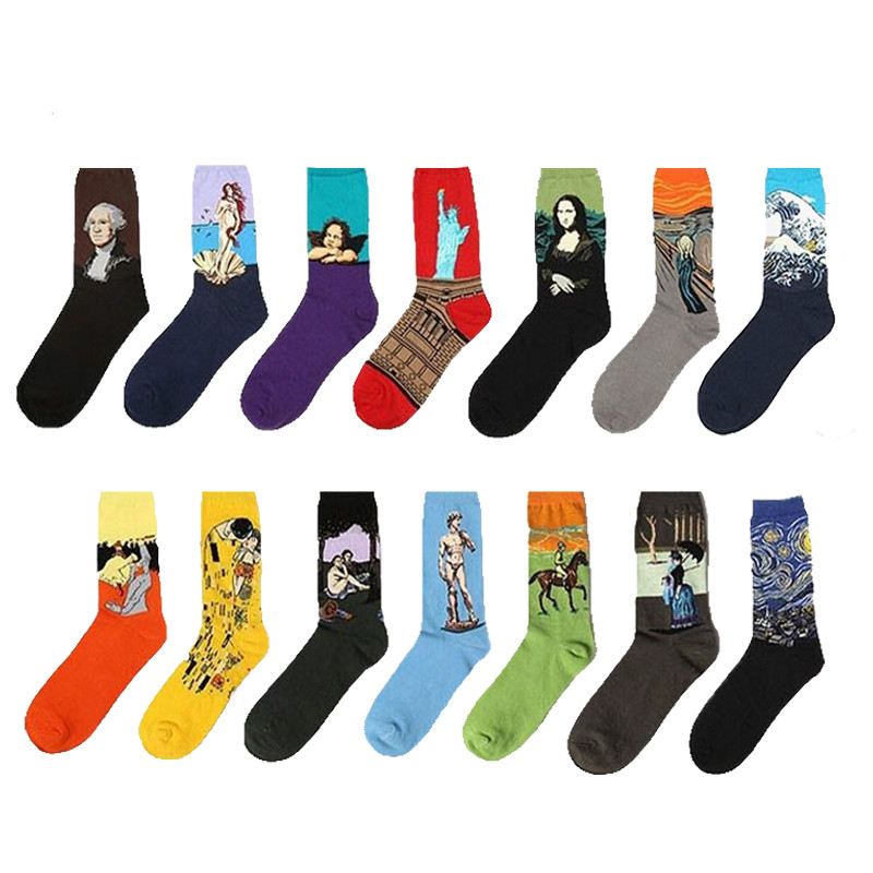 European Fashion Cotton Casual   Socks   Men&Women's Harajuku Style Van Gogh Printing Oil Painting Art   Sock