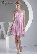 2017 rosa Chiffon Elastische Applique Rüschen Eine Schulter Kurze Heimkehr Kleid Sleeveless Mini Prom Kleider Cocktailkleider