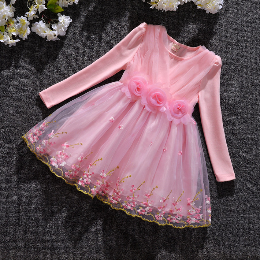 Baby Girls Dresses Kids Clothes Children Dress for Girls Clothes Full of Flowers Princess Dress Christmas Ball Gown 3-9Y pink  цена и фото