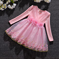 Meninas do bebê Veste Roupa Dos Miúdos Crianças Vestir para Meninas 3-9Y Roupas Cheias de Flores Princesa Vestido de Natal vestido de Baile rosa