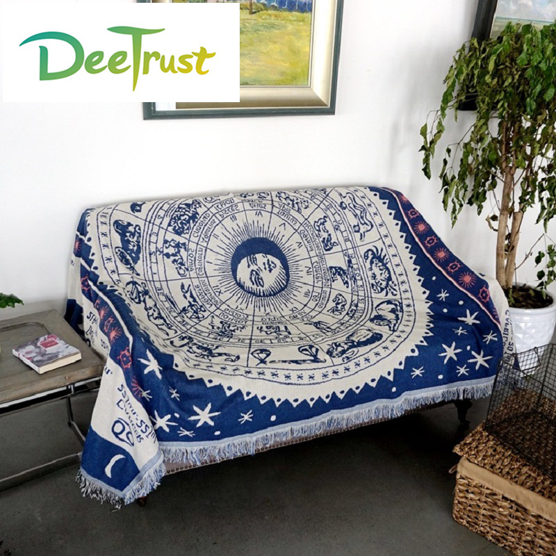 Starry Sky Cotton Sofa Double Blanket Soft Constellation Fabric on Bed Warm Cobertor Throw Blanket Travel Supplies Home Textile