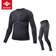 Santic для мужчин Велоспорт базовый слой наборы для ухода за кожей зимние термальные виды спорта MTB дорожный велосипед Одежда Бег