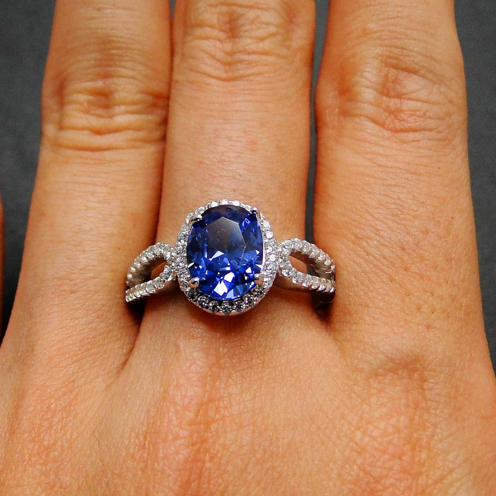 Tanzanite Ring Wedding Jewelry 100% 925 Silver Rings Oval 7x9mm Women Jewelry Rings CZ Wedding Rings Party Jewelry Size 7/8/9