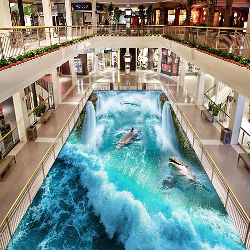 Dolphin Sea Water Waterfall 3D Floor Mural Wallpaper Bathroom PVC Waterproof Thickened Vinyl Wall Papers Home Decor Living Room