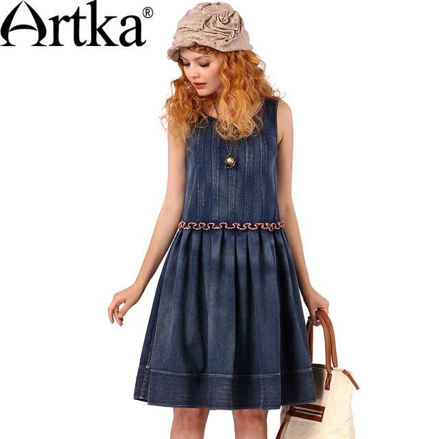 Artka Women's Summer New Patchwork Cotton Denim Dress Vintage O-Neck Sleeveless Ruffled Waist Wide Hem Dress L814157X