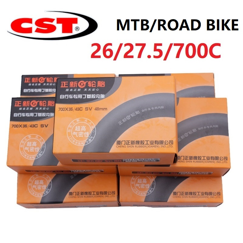 Bike Bicycle Tube 700C <font><b>26</b></font> / 27.5 Inch MTB Mountain Bike Road Bicycle CST Rubber Inner Tube Schrader Presta Valve AV/FV image