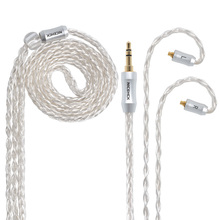NICEHCK MMCX/2Pin Connector 3.5/2.5/4.4mm Balanced 8-Core Plated Silver Cable For SE846 AS10 ZS10 NICEHCK HK6/HK8 With Ear Hook