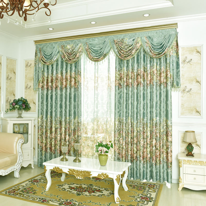 2016 On Sales Fancy Rustic Jacquard Drapes For Window Treatment Fashion Water Wave Yarn Valance Curtains Cortian Living Room