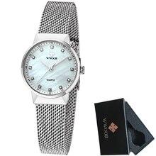 WWOOR Correa de Acero Inoxidable Relojes de Primeras Marcas de Lujo de Las Mujeres Manera de la Señora Reloj de Cuarzo Pequeño Dial Reloj de Pulsera de Mujer Femenina