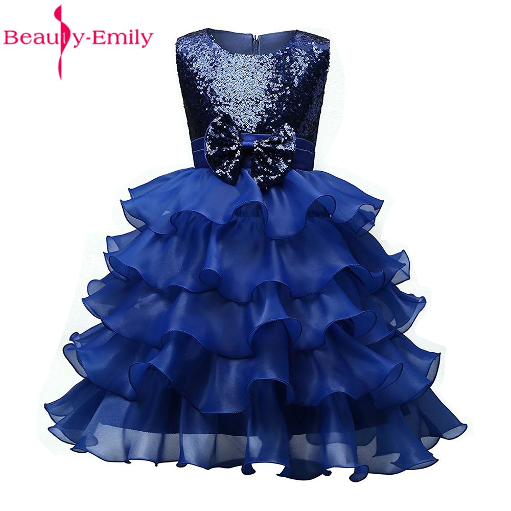 Beauty-Emily Princess Pageant Evening Graduation Prom Birthday Party Dresses Puffy Wedding Evening Gown Flower Girl Dresses 2017