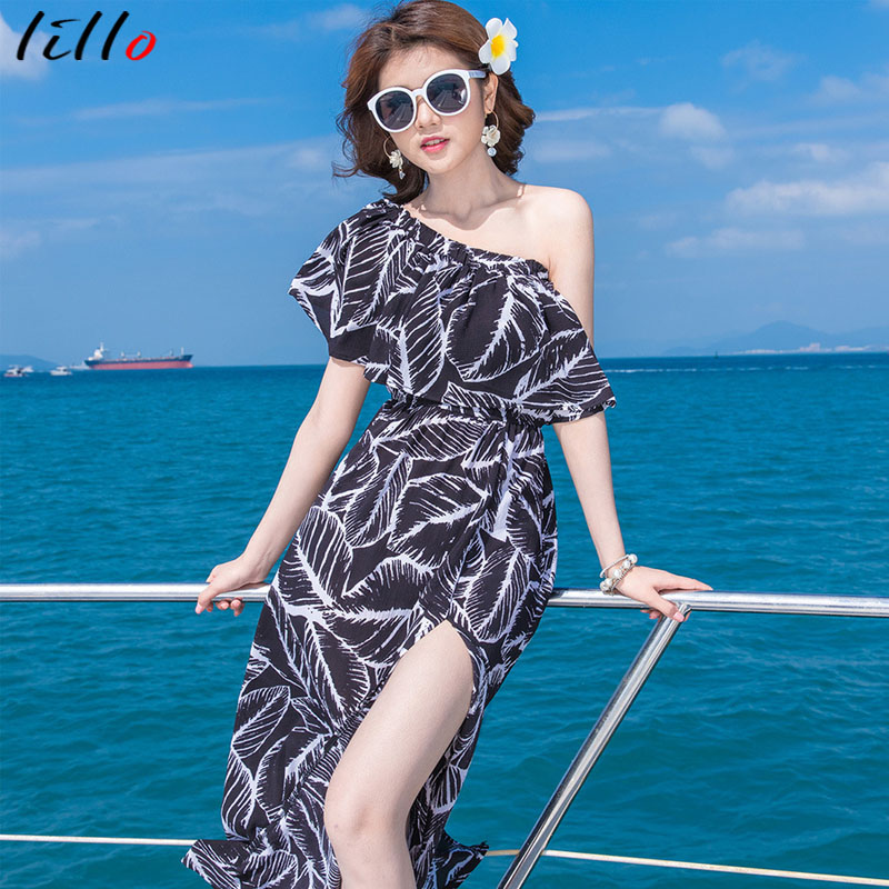 f294130bcba5 Beach vacation dress The word collar wrapped chest bohemian long dress New  temperament black leaves beauty fashion women dress-in Dresses from Women s  ...