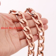High Quality 7-40″ 15/19mm wide Rose Gold color 316L stainless steel cuban link chain necklaces Bracelet women&men jewelry