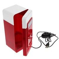 Red Desktop Mini USB Gadget Beverage Cans Cooler Warmer Refrigerator Mini Fridge P4PM
