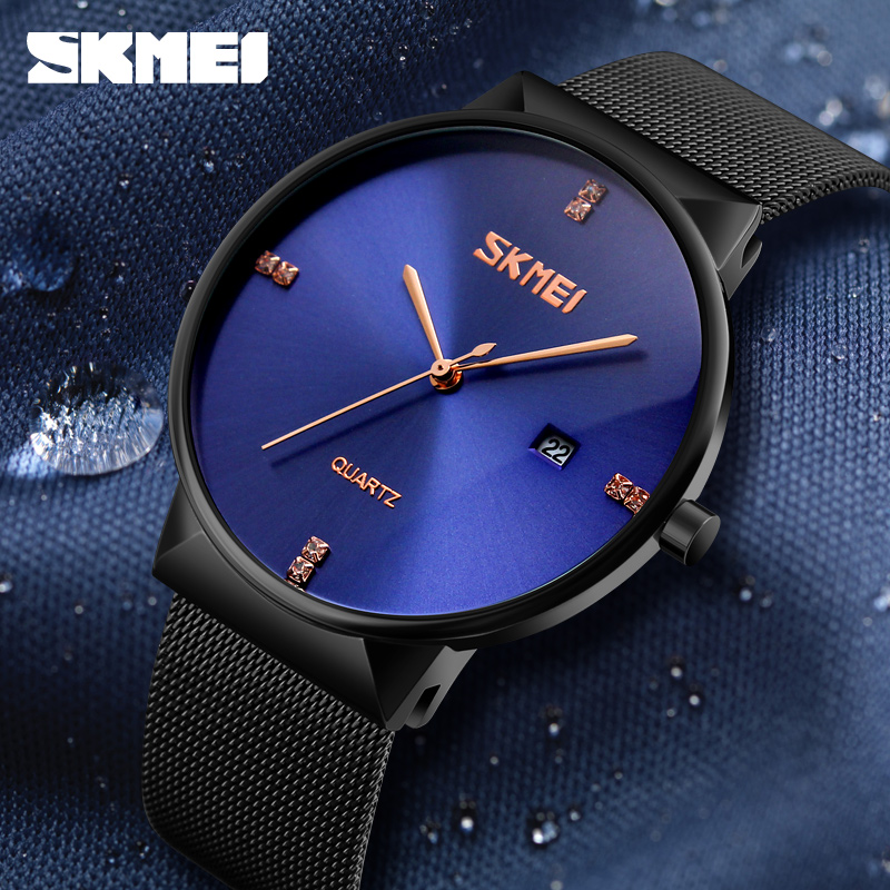 Simple Fashion Ultra Thin Men's Watches Luxury Brand SKMEI Stainless Steel Waterproof Date Casual Quartz Wrist Watch Relogio skmei lovers quartz watches luxury men women fashion casual watch 30m waterproof simple ultra thin design wristwatches 1181