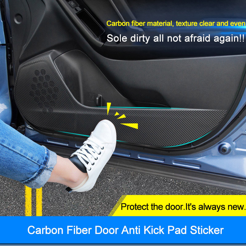 QHCP Carbon Fiber Car <font><b>Door</b></font> Side Anti-kick Sticker Film For <font><b>Subaru</b></font> Forester Legacy <font><b>Outback</b></font> XV 2014 2015 2016 2017 2018 4Pcs/Set image