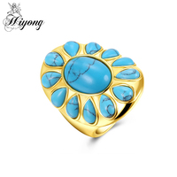 HIYONG Trendy Big Sun Shape Ring Blue Oval And Waterdrop Man Made Turquoise Jewellry Yellow Gold
