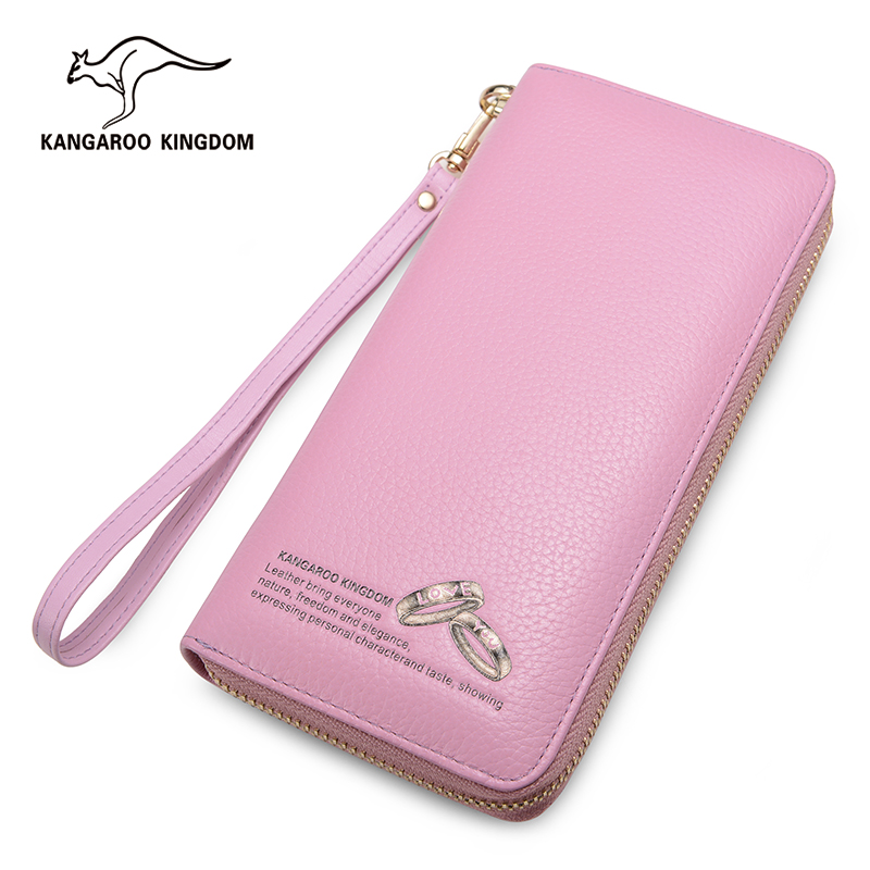 KANGAROO KINGDOM Brand Luxury Women Wallets Genuine Leather Long Zipper Clutch Wallet Card Holder Purse women wallets fashion genuine leather wallets women long zipper card holder wallet clutch female wallets lady cow leather purse