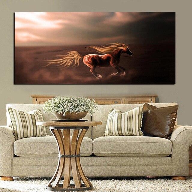Europeo tamaño grande HD imprimir caballos Correr pintura al óleo ...