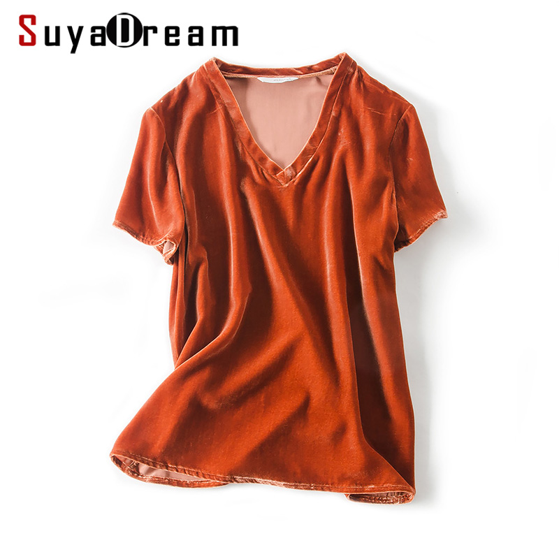 Woman T SHIRT Silk Velour casual Top Short sleeved V neck 2018 Spring Bottoming shirt Orange ...
