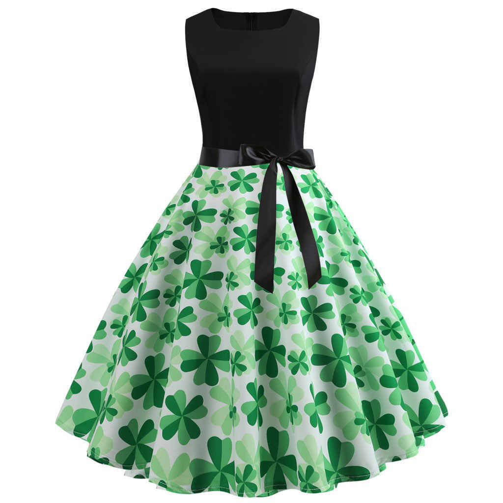 adcb03039af9f St. Patrick's Day Women Sleeveless Shamrock Evening Party Prom Swing ...