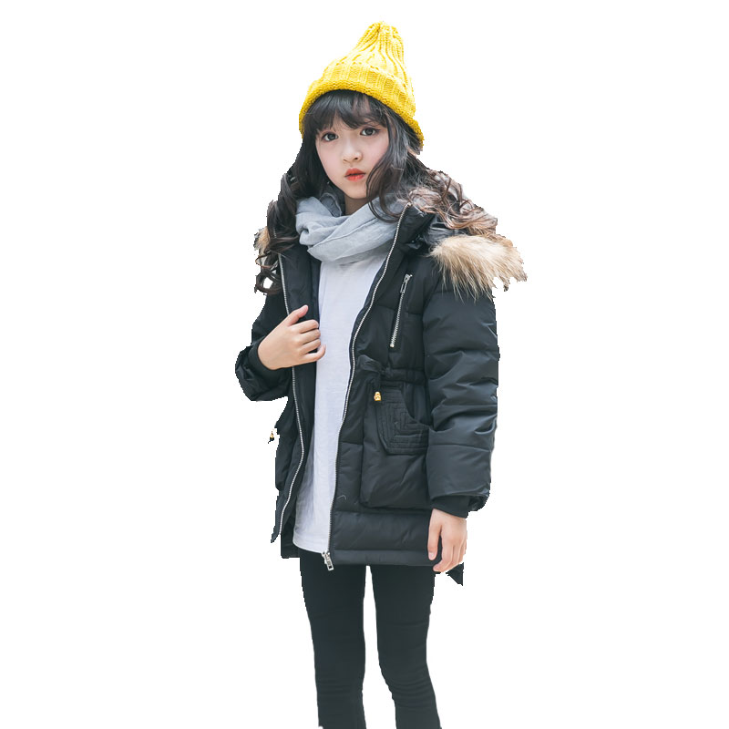2017 Girls Clothes Children Jackets Duck Down Parkas Kids Fur Hooded Outerwear Thicken Warm Long Belt Winter Coats For 3-8Y winter down jacket for girls kids clothes children thicken coats duck down jackets girls hooded bow snowsuits natural fur coat