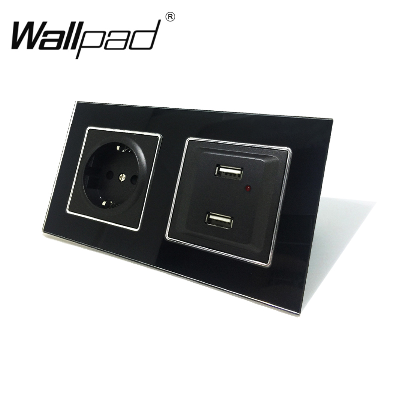 EU Schuko Socket with USB Charging Outlet with Clips Wallpad Black Glass Panel LED Indicator USB Ports + 16A EU Socket with ClawEU Schuko Socket with USB Charging Outlet with Clips Wallpad Black Glass Panel LED Indicator USB Ports + 16A EU Socket with Claw