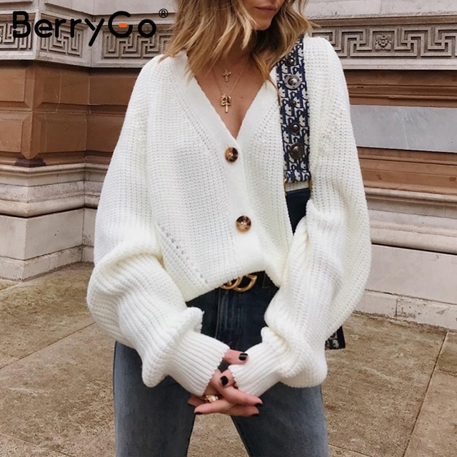 BerryGo Sexy v-neck women knitted cardigan Casual button bat sleeve white sweater cardigan Autumn winter loose knit sweater coat 3