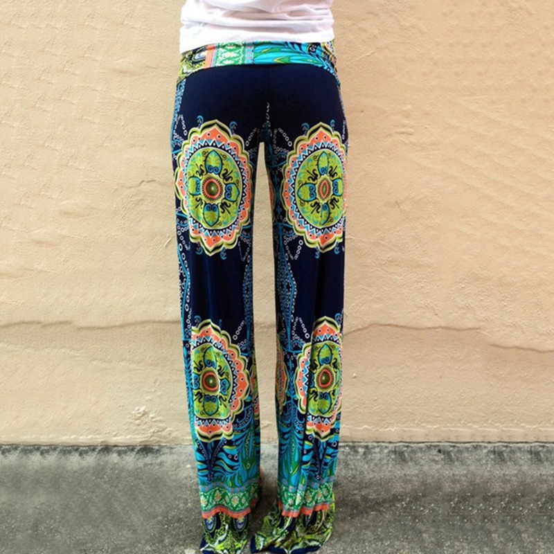 Zogaa Vintage Ethnic Printed Women Pants 2019 Wide Leg Pants Loose Straight Trousers Low Waist 4xl Women Pant Pilates Leggings