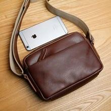 AETOO Summer Men's First Layer Leather Casual Shoulder Bag Leather Men's Mini Bag Crossbody Bag цена