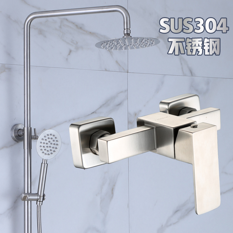304 Stainless Steel Rectangular Rain Shower Set Faucet Shower Set Simple Engineering Specialized Hotel Bathroom