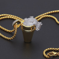 Luxury Full Rhinestone Styrofoam Cup Pendant Necklace Bling Bling Hip Hop Necklace Iced Out Unisex Jewelry