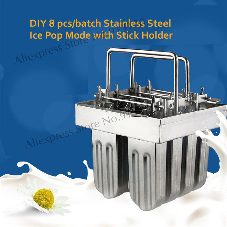 Popsicle Mold Lolly Mold Ice Pop Maker Snack Ice Cream Mold Stainless Steel with Sticks Holder 8Pcs/Batch ice cream silica gel mold