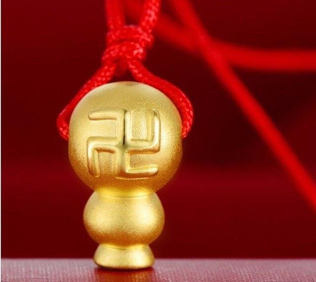 Pure 24k Yellow Gold Pendant/ 3D Craved Bless Mascot gourd Pendant/ 1-2g New