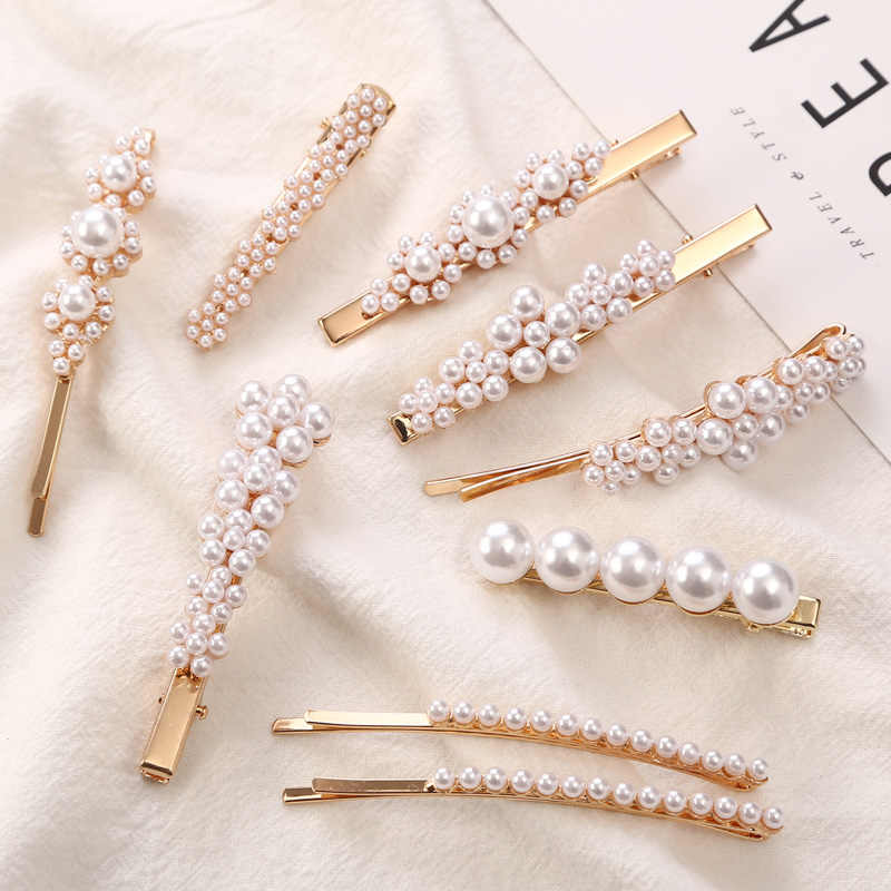 1 PC Woman Elegant Geometric Pearl Hairpins Korean Style Hair Clips Alloy Barrettes Girls Hair Accessories Hair Grips Headwear